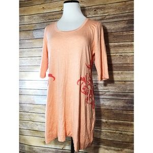 Soft Surroundings Peach Scoop Neck Tunic Shirt
